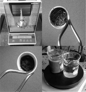 Ilustraciones representativas del proceso de caracterización de la biomasa CRB por gravimetría y calorimetría.
