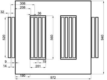 Dimensiones en milímetros del transformador utilizado para el caso de estudio