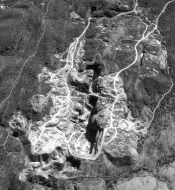 Vista aérea de la cantera La Represa