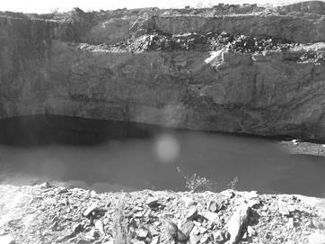 Acumulación de agua en la cantera La Represa cuando ocurre la interrupción de la operación