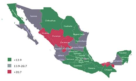 Tasa de mortalidad por entidad federativa en México en 2015