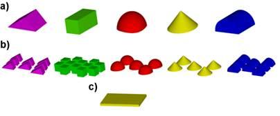 Configuraciones de estructuras a evaluar a) Geometrías básicas; b) Configuraciones grupales; c) Estructura flotante