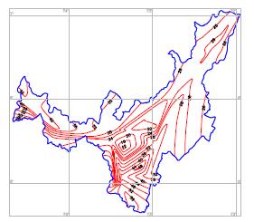 Isolíneas de regionalización constante t    o
