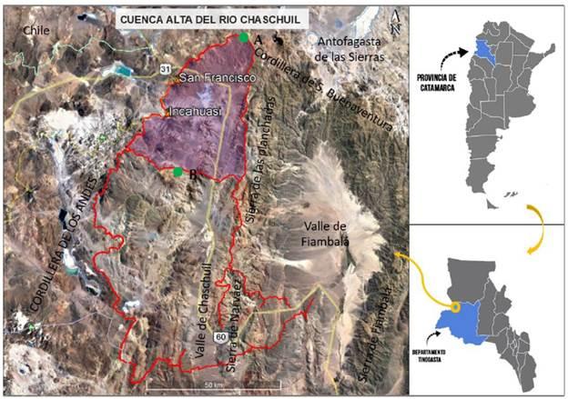 Croquis de la ubicación del área de estudio: cuenca alta del río Chaschuil. Fiambalá, Catamarca, Argentina