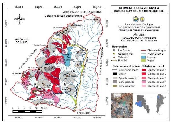 Mapa de geomorfología volcánica de la cuenca alta del río Chaschuil