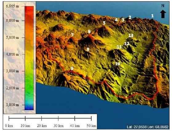 Modelo digital de elevación 3D (MDE). Identificación de aparatos volcánicos principales