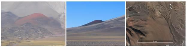 Distintas perspectivas de un cono parasito del volcán San Francisco