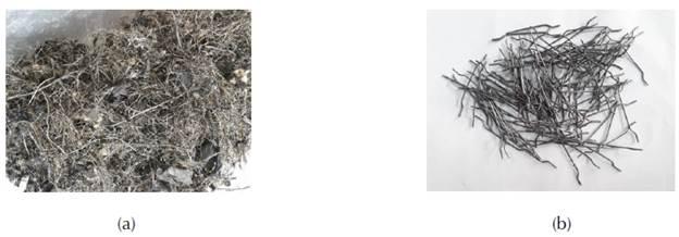 Fibras de acero (a) recicladas e (b) industriales