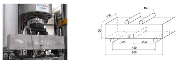 Configuración general del ensayo a flexión en cuatro puntos con viga entallada