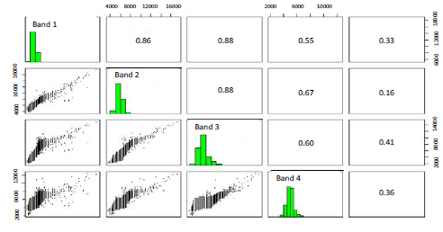 Histograms and relationships between bands