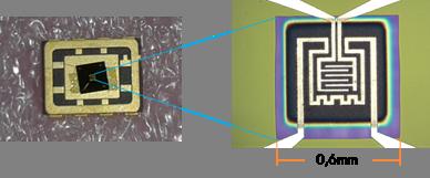 Sensor individual montado sobre un encapsulado
