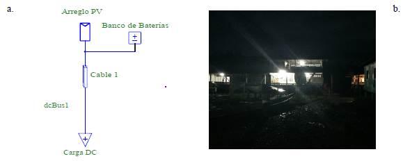 a. Diagrama unifilar del centro de refrigeración. b. Visión nocturna del centro educativo con servicio de energía eléctrica