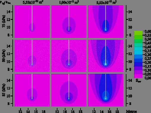 Isocontorno de S  nw  en función de P  nw, inj   para t = 1800 s. Distancia en metros