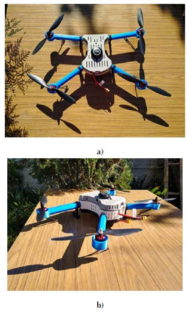 Assembled drone. (a) Top view. (b) Side view.