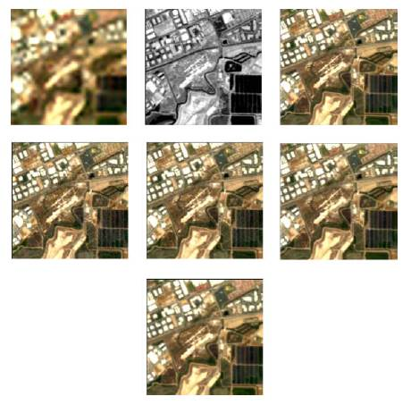 Qualitative fused images (Moffet image). (Row 1, left) MS image. (Row 1, middle) MS image. (Row 1, right) Ground truth. (Row 2, left) HySure. (Row 2, middle) HMIF-SR. (Row 2, right) HyMuXNol. (Row 3) Proposed.