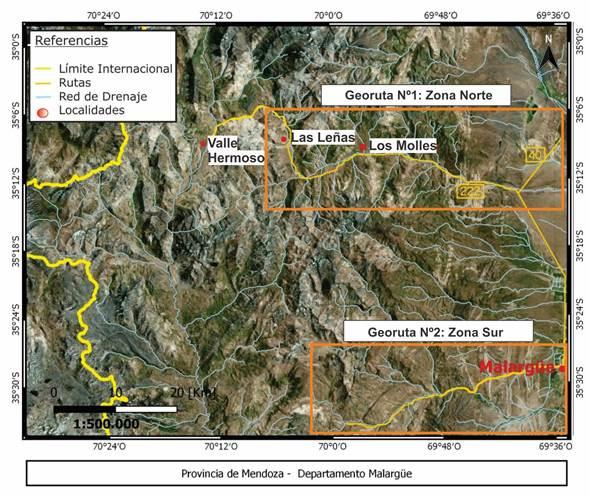 Mapa de ubicación del área de trabajo con las 2 georrutas propuestas enmarcadas en color naranja