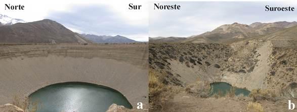 a) Vista frontal de dolina N.° 2, pozo de Las Ánimas. b) Vista frontal de dolina N.° 3, pozo de Las Ánimas