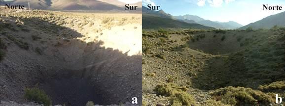 a) Vista este de dolinas N.° 4 y 5. b) Vista oeste de dolinas N.° 4 y 5, pozo de Las Animitas