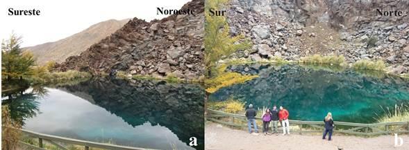 a) y b) Vistas lateral y frontal de dolina N.º 6 laguna de La Niña Encantada
