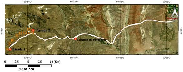 Georruta N.° 2 en camino a Castillos de Pincheira en zona sur, con paradas (geositios) y dolinas enumeradas de 8 a 15
