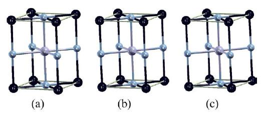 Celdas unitarias de las multicapas (a) VN/TiN, (b) CrN/TiN y (c) MnN/TiN obtenidas después de larelajación estructural