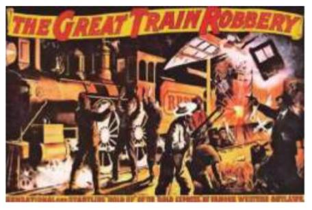 Imagen 1. Afiche de Asalto y robo de un tren. Pe-lícula  dirigida  por  Edwin  S.  Porter  y  publicada  por  Edison  Studios  en  1903, que  dio  inicio  al  género  wéstern.
