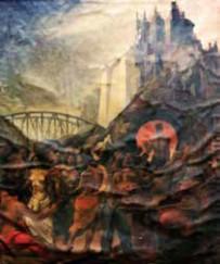"""Figura 22. Ricardo Warecki, Construcción 1947, óleo sobre tela,  109 x 93 cm, Museo Municipal de Artes Visuales """"Sor Josefa Díaz y Clucellas"""", Santa Fe, Argentina."""