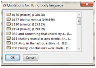 Number of quotations that appeared in the instruments for body language.