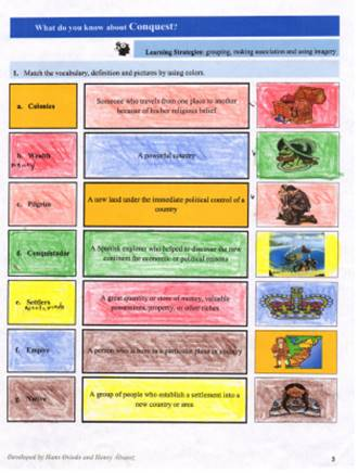 Students' Artefacts, matching activities (Lesson 1).