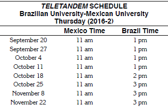 Teletandem sessions example schedule.