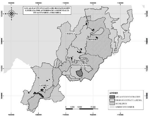 Localización de predios en los que se desarrolló el proyecto.