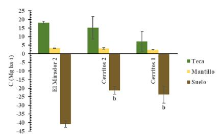 Acumulación de C en plantaciones de teca a los 6 años en el estado de Nayarit, México. Valores de medias (± error estándar) en cada barra sin letras son estadísticamente diferentes (p≤0.05); n = 75 (teca). n = 6 (mantillo y suelo).