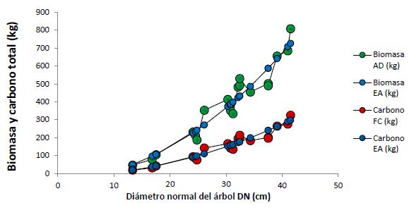 Valores de biomasa y carbono total de Trichospermum mexicanum (DC.) Baill. (AD: análisis destructivo; FC: factor de conversión de carbono; EA: ecuaciones alométricas).