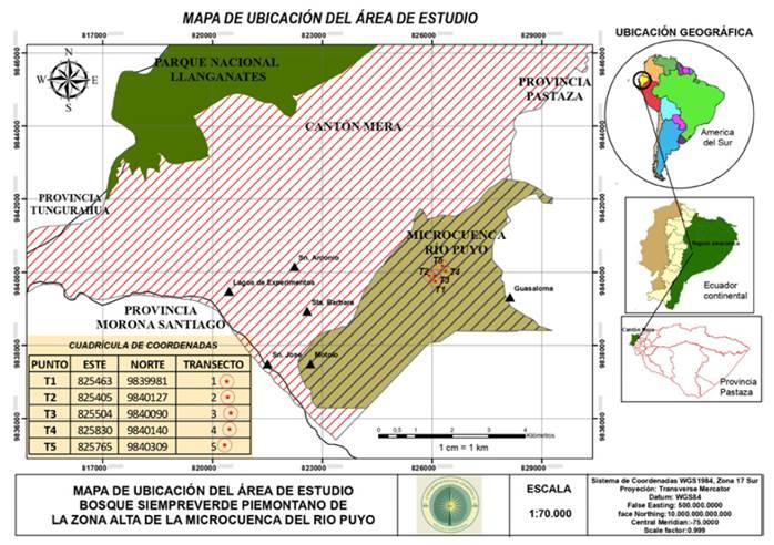 Ubicación geográfica del área de estudio.