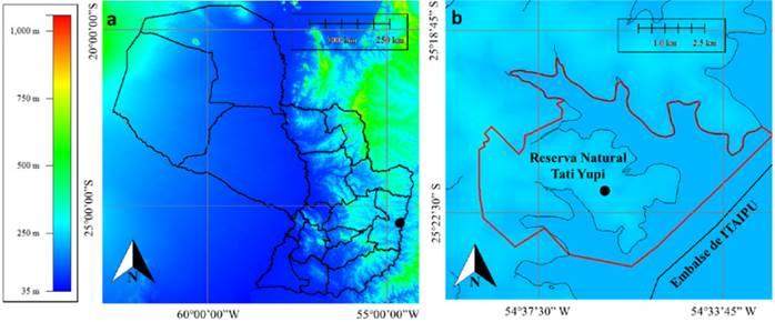Ubicación de la Reserva Natural Tati Yupi (punto negro) dentro del territorio paraguayo; b. Ubicación de la parcela permanente (punto negro) dentro de la Reserva Natural Tati Yupi (polígono rojo) y los principales cauces hídricos de la zona (líneas negras).