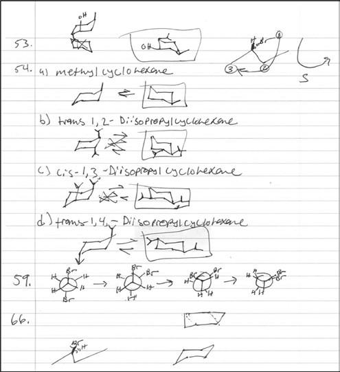 Una página de las notas de Samuel para su curso de Química Orgánica