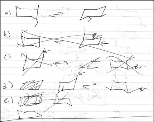 Extracto de una página del cuaderno de  Química Orgánica de Samuel que muestra sus  esfuerzos para representar gráficamente moléculas  orgánicas comunes