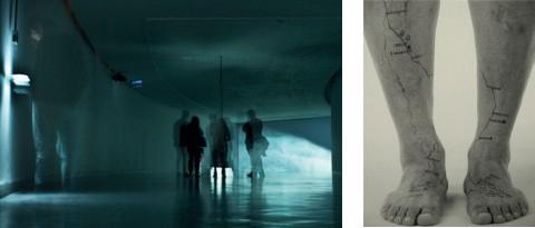 Libia Posada (1959). (Izq.) Materia Gris, fragmento instalación, Premio Luis Caballero, 2011. (Der.) Signos Cardinales -detalle (2009). Cortesía Libia Posada
