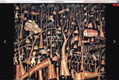 """Página com obra selecionada (Nilson Pimenta, """"Desmatamento"""", 1984)."""