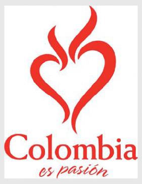 """Logo de la campaña """"Colombia es pasión"""" (2005). Fuente página de la presidencia, administración de Álvaro Uribe Vélez (de uso público)."""