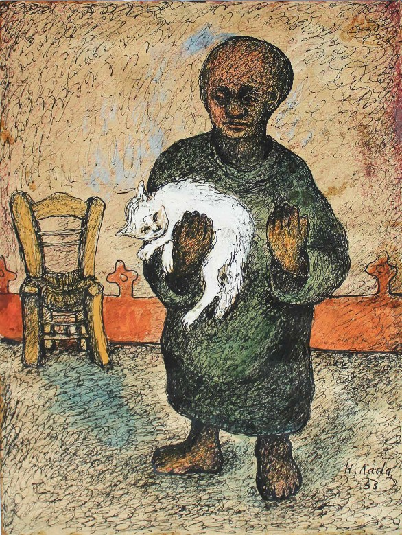 Hamed Nada, Man with Cat, 1953, Mixed Media on paper, 35.5 x 28 cm. Sharjah Art Foundation Collection.