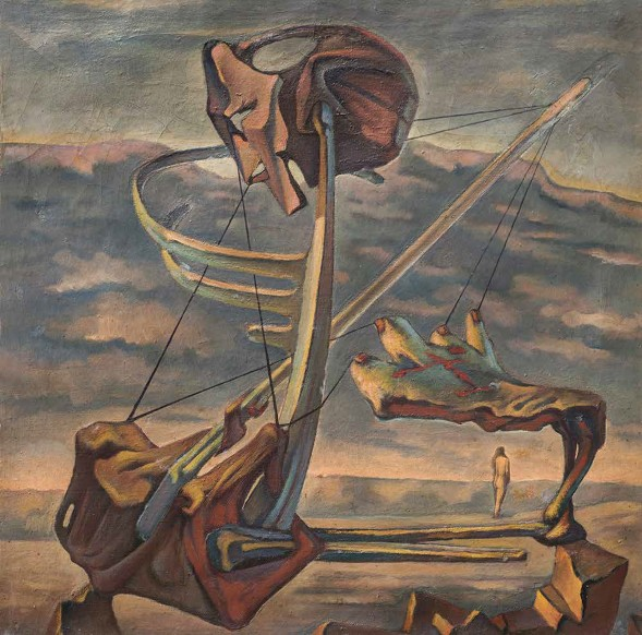Ramses Younan, Nature Loves a Vacuum, 1944, Oil on canvas, 66 x 66 cm. Courtesy of the Museum of Modern Egyptian Art,  Sector of Fine Arts, Ministry of Culture, Egypt.