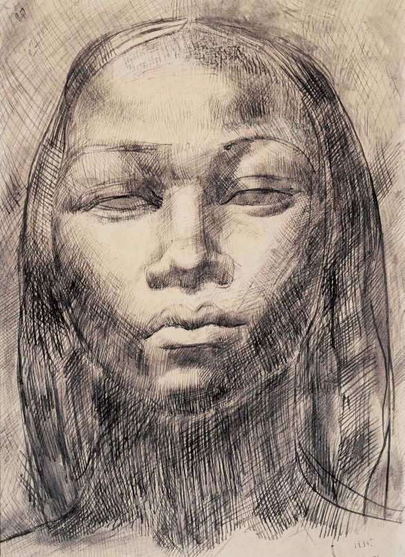 Amy Nimr Nubian Woman, Pencil and ink on paper, 25 x 35 cm. Courtesy of Museum of Modern Egyptian Art in Cairo.