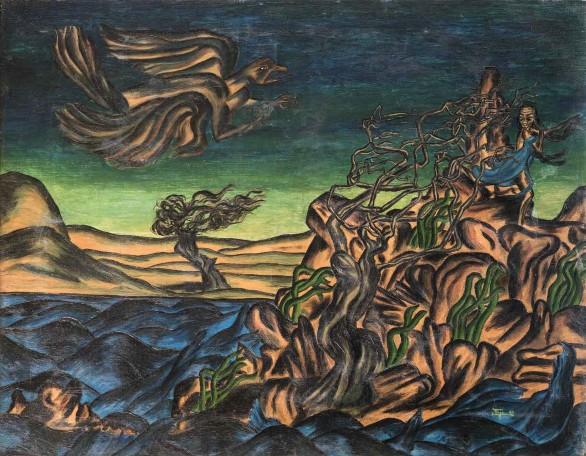 Inji Efflatoun, The Girl and the Beast, 1941, Oil on canvas, 70 X 55 cm. Courtesy Museum of Inji Efflatoun, Sector of Fine Arts, Ministry of Culture, Egypt.