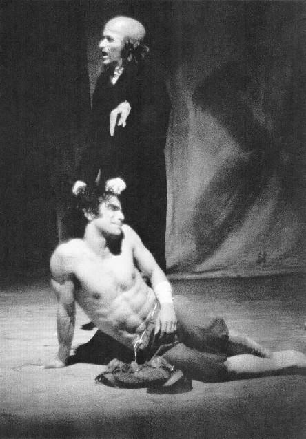 Diálogo del Rebusque. Santiago García. Teatro La Candelaria (1981). En la foto: César Badillo  y ÁlvaroRodríguez. Foto Luis Cruz.