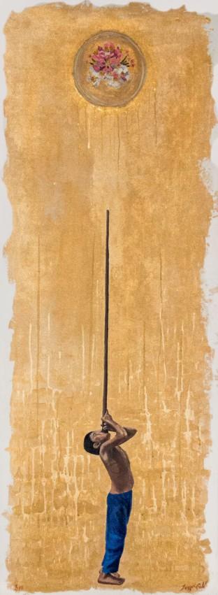 Cazando flores en territorio caapiniano. (Jeisson Castillo, 2018). Óleo, polvo de oro y acrílico sobre lienzo, 160 x 60 cm. Cortesía del artista.
