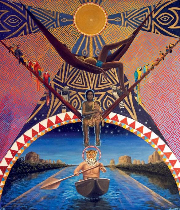 Nacimiento de Ka´mari, primer jaguar. (Jeisson Castillo, 2018). Óleo y tabaco sobre lienzo, 140 x 90 cm. Cortesía del artista.