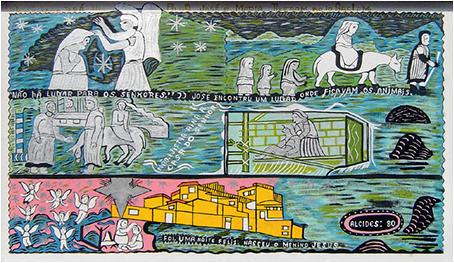 Imagen 5. Nascimento de Jesus. (Alcides Pereira dos Santos, 1980). Óleo sobre tela, 50 x 88 cm. Coleção Humberto Espíndola, Campo Grande-MS.