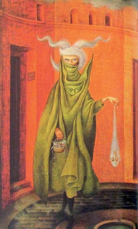 Imagen 3. Mujer saliendo del Psicoanalista. Fotografía tomada de la portada del libro: Cinco Llaves del Mundo Secreto de Remedios Varo.