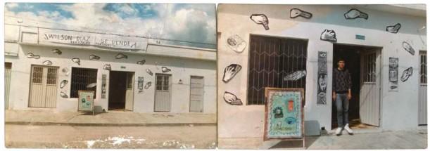 Imagen 11. Vistas de Wilson Díaz se vende. (Wilson Díaz, 1993). Realización de trabajos del artista en la Galería Valencia de Pitalito. Fotografía color 35mm. Archivo Wilson Díaz.